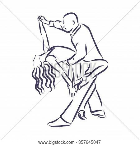 Hand Made Sketch Of Tango Dancers. Vector Illustration. Use For Tango Studio Posters, Flayers, Web-s