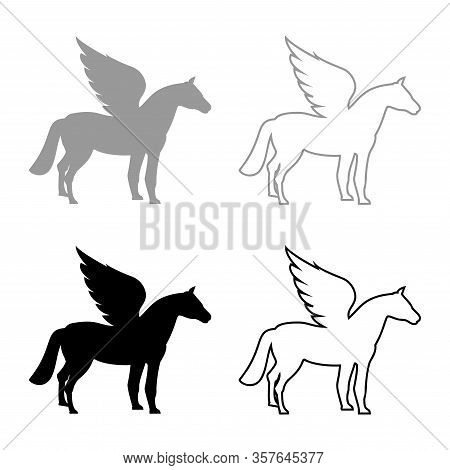 Pegasus Winged Horse Silhouette Mythical Creature Fabulous Animal Icon Outline Set Black Grey Color