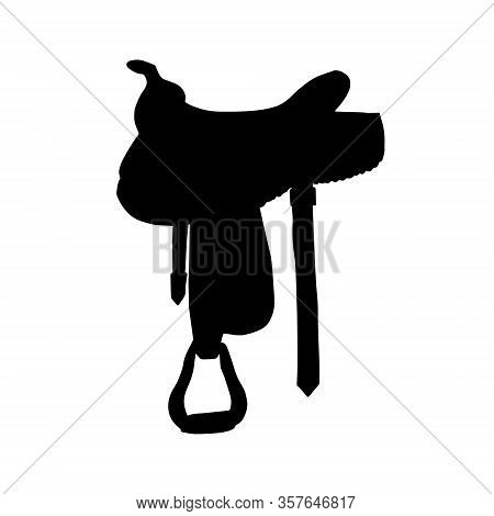 Vector Black Western Cowboy Equestrian Horse Saddle Silhouette Isolated On White Background