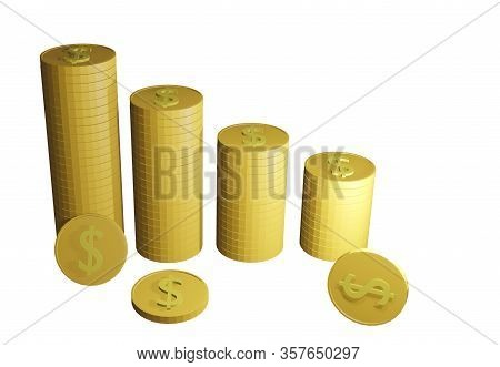 Money Supply Is Falling, Gold Coins, White Background, Stocks Fall, Financial Markets Are Down, The