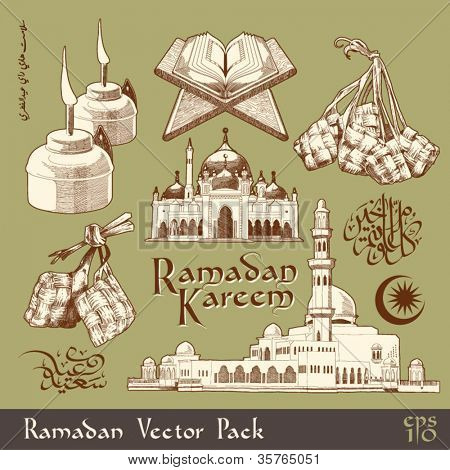 Vector Ramadan Element Translation of Jawi Text: Eid Mubarak, May you Enjoy a Blessed Festival