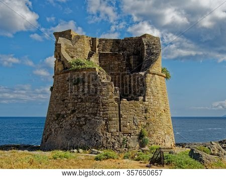 The Remains Of A Medieval Observation Tower, Such As Many On The Southern Coast Of Italy.