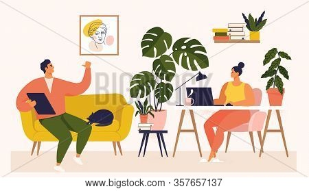 Woman And Man Working At Desk And On Sofa From Home. Couple Have A Lot Of Work. Woman Working With L