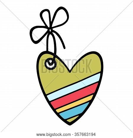 Colorful Easter Carton Heart Icon. Hand Drawn Illustration Of Colorful Easter Carton Heart Vector Ic