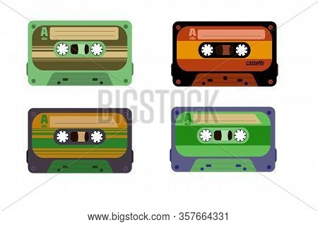 Retro Cassettes.  Retro Dj Sound Tape, 1980s Rave Party Stereo Mix, Old School Record Technology.