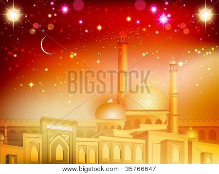 Shiny Eid Mubarak background with moon and golden  Mosque and Masjid. EPS 10. poster