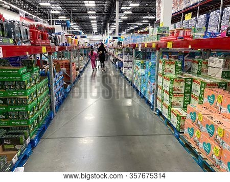 Orlando,fl/usa - 3/7/20:  The Body Soap And Baby Aisle At A Sams Club Wholesale Retail Store.