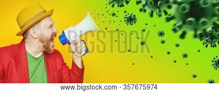 A portrait of a bright man posing in the studio with a mouthpiece over the yellow background. Epidemic, viruses, healthcare.