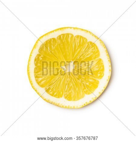 Slice of yellow lemon isolated on white background. Top view.