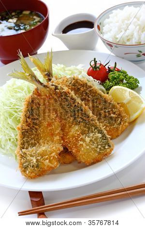 japanese lunch set meal, aji fry teishoku(deep fried horse mackerel, rice and miso soup)