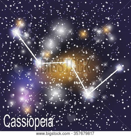Cassiopeia Constellation With Beautiful Bright Stars On The Background Of Cosmic Sky Vector Illustra