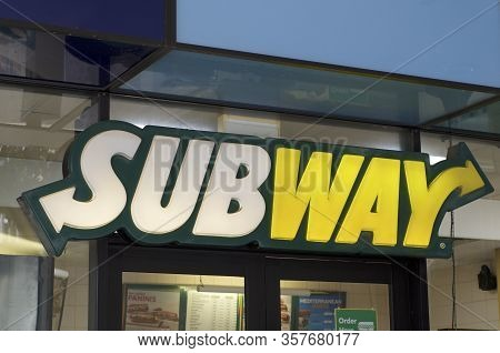 Brisbane, Qld, Australia - 28th February 2020 : Subway Store Sign Hanging In Front Of A Shop In Bris
