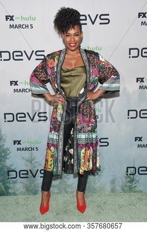 LOS ANGELES - MAR 02:  Angela Lewis Angela Lewis arrives for FX's Limited Series 'Devs' Los Angeles Premiere on March 02, 2020 in Hollywood, CA