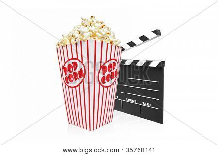 A studio shot of a movie clap and popcorn box isolated on white background