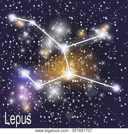Lepus Constellation With Beautiful Bright Stars On The Background Of Cosmic Sky Vector Illustration