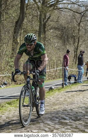 Wallers,france - April 12,2015: The French Cyclist Morgan Lamoisson Of Europcar Team Riding On A Cob
