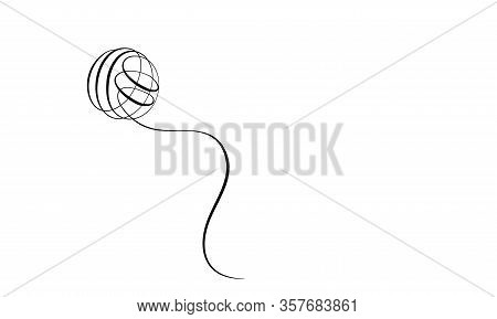 Clew Ball Of Thread. Continuous One Line Drawing