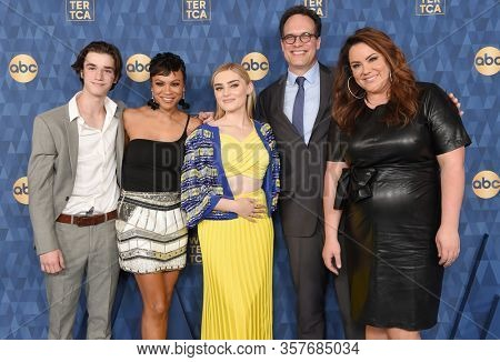 LOS ANGELES - JAN 08:  Daniel DiMaggio, Carly Hughes, Meg Donnelly, Diedrich Bader and Katy Mixon arrives for the ABC Winter TCA Party 2020 on January 08, 2020 in Pasadena, CA