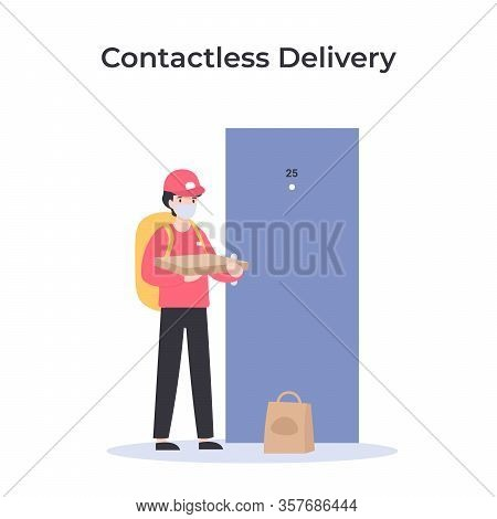 Contactless Delivery, Courier In Medical Mask With Pizza Near Door. Ncov, Covid 2019, Coronovirus Co