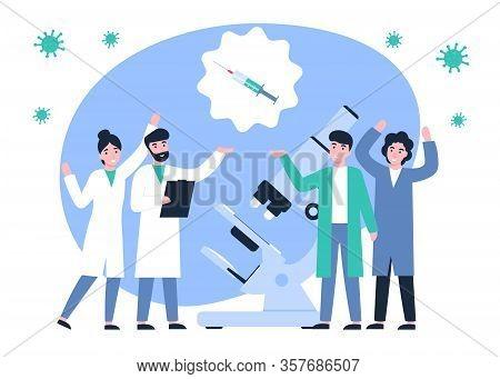 Happy Scientists Discovered A Vaccine Against Coronavirus. Ncov, Covid 2019, Coronovirus Collection.