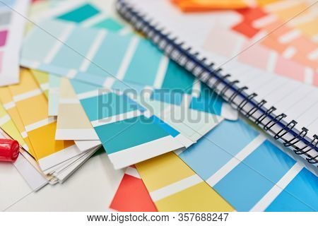 Color samples and color palette as materials for graphic design and color design