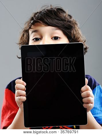 Cute kid with Tablet