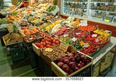 Sevilla, Spain - February 28th 2020: Fruits and vegetables on Triana market