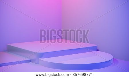 Abstract Empty Pedestal In Blue Pink Vibrant Light Stage Minimal Background For Present Content Adve