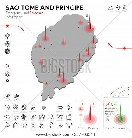 Map Of Sao Tome Epidemic And Quarantine Emergency Infographic Template. Editable Line Icons For Pand