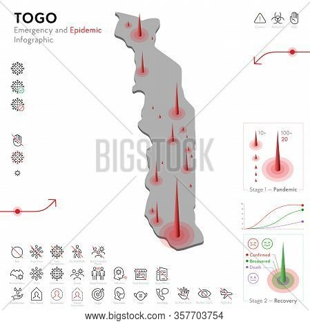 Map Of Togo Epidemic And Quarantine Emergency Infographic Template. Editable Line Icons For Pandemic
