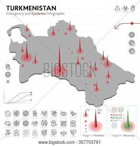 Map Of Turkmenistan Epidemic And Quarantine Emergency Infographic Template. Editable Line Icons For