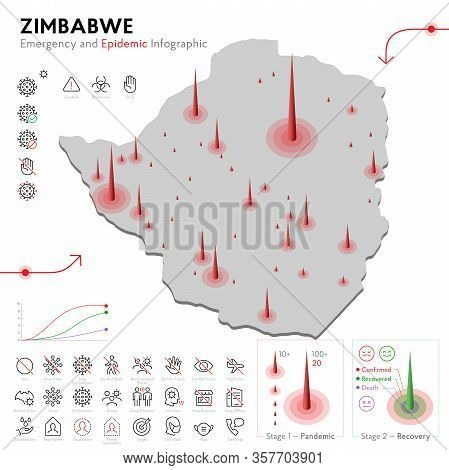 Map Of Zimbabwe Epidemic And Quarantine Emergency Infographic Template. Editable Line Icons For Pand