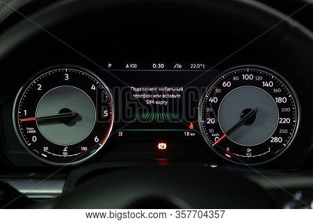Volkswagen Touareg -car Panel, Digital Bright Speedometer, Odometer And Other Tools.  Novosibirsk, R