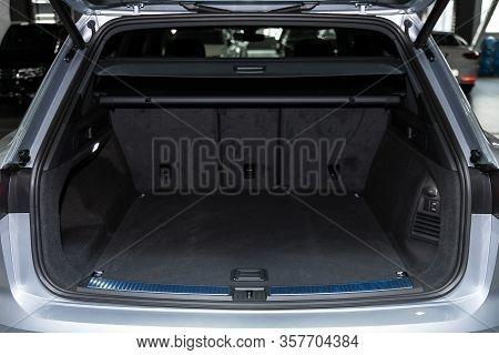 Volkswagen Touareg - Rear View Of A Car With An Open Trunk. Exterior Of A Modern Car.  Novosibirsk,