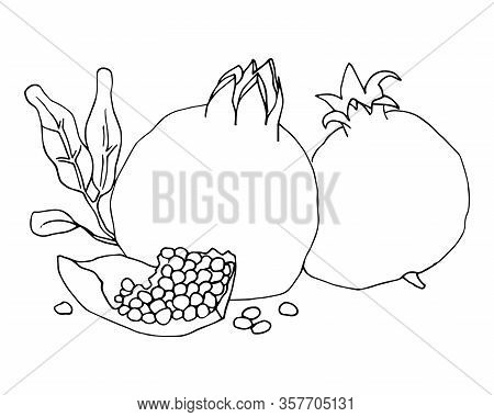 Outline Vector Illustration With The Image Of Two Pomegranates And A Pomegranate Slice .