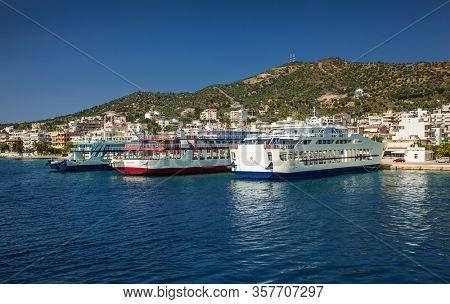 Loutra Edipsou, Evia, Greece- June,11 2018. Ferryboats on the dock in Lutra Edipsou (Aidipsos), Evia island, Greece.