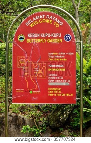 Sabah, My - June 18: Poring Hot Spring Butterfly Garden Sign On June 18, 2016 In Sabah, Malaysia. Po