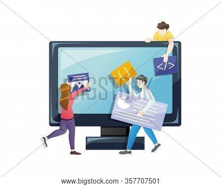 Vector Illustration Web Design And Development. Illustration Concept Of Website And App Design And D