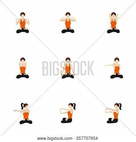 Illustration Stylized Woman Practicing Exercises For Hands In Padmasana