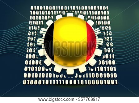 Binary Code Background With Gear And Flag Of The Belgium. Algorithm Binary, Data Code, Decryption An