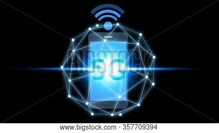 Smartphone Connection 5g Icon Technology, Smartphone Using 5g Technology With Virtual Screen Icon, T