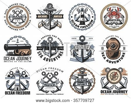 Nautical Icons Of Sea Travel And Ocean Adventure Vector Design. Ship Anchor, Rope And Chain, Marine