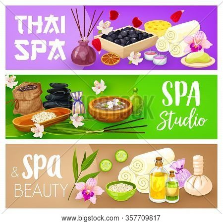 Spa Treatments Of Body Care Vector Banners Of Beauty And Massage Salon Design. Hair And Skin Beauty