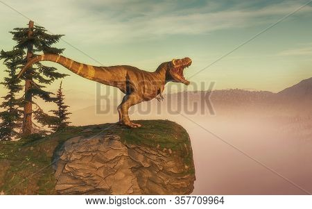 T Rex On Top Of A Mountain Rock . This Is A 3d Render Illustration.