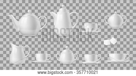 Tea Or Coffee Set Realistic Vector Design Of Hot Beverage And Drink White Ceramic Cups And Pots. 3d