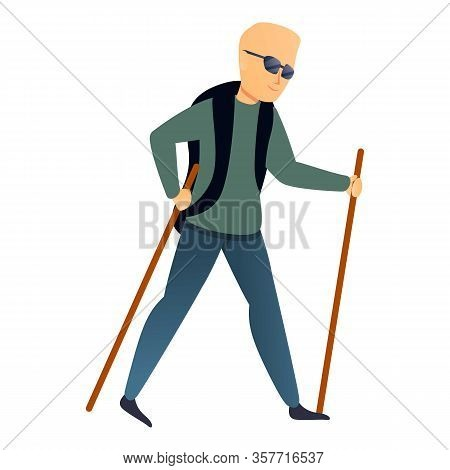 Nordic Walking Sticks Icon. Cartoon Of Nordic Walking Sticks Vector Icon For Web Design Isolated On