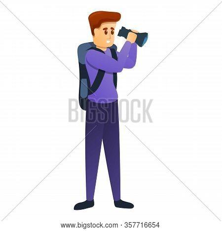 Hiker Look In Binoculars Icon. Cartoon Of Hiker Look In Binoculars Vector Icon For Web Design Isolat