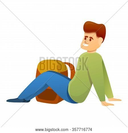 Tourist Rest On Ground Icon. Cartoon Of Tourist Rest On Ground Vector Icon For Web Design Isolated O