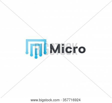 Abstract Micro Scheme Icon, Blue Geometric Lines. Microchip Linear Logo Template, Flat Abstract Embl