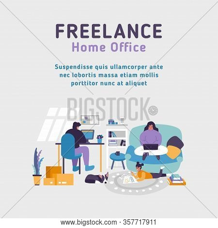 Home Office Apartment. Workspace Freelancer Family. Man Works At Desk Pc. Woman Works With Laptop. B